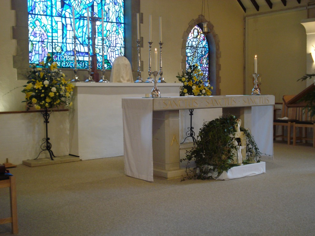 The new improved altar at Holy Family Church, Farnham