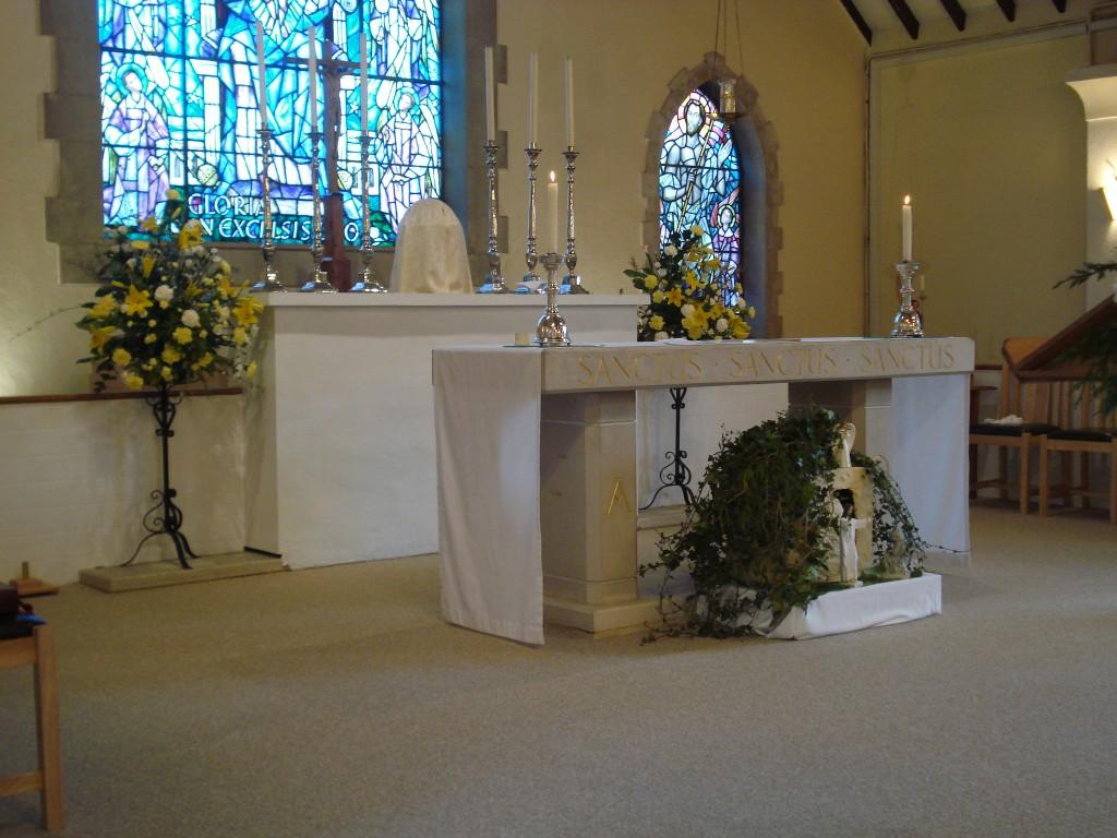 The new improved altar at Holy Family Church, Farnham