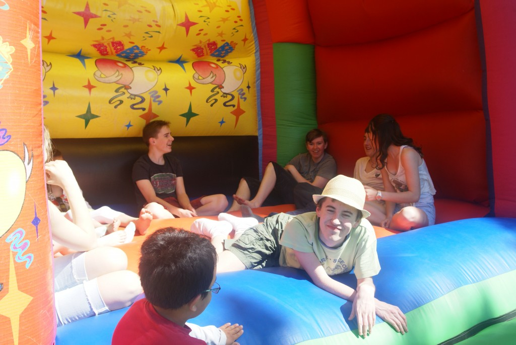 Chilling out on the Bouncy Castle!