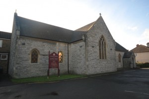 The front of the Holy Angels Church